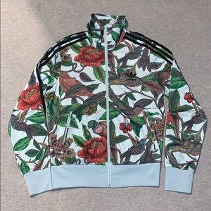 Adidas floral hummingbird track jacket